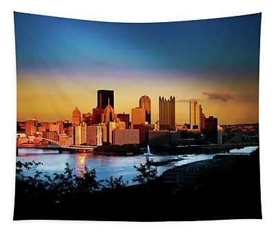 Sunset In The City Tapestry