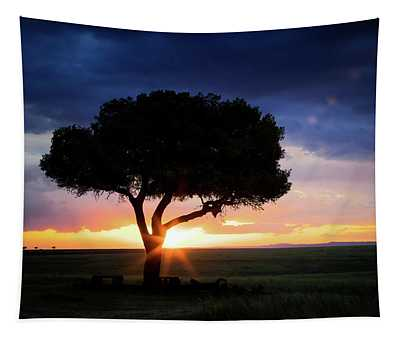 Sunset In The Masai Mara Tapestry