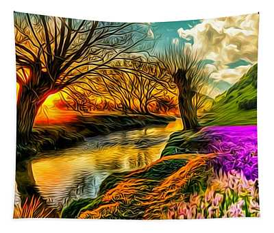 Sunset Landscape Tapestry