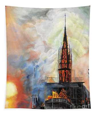 Sunset On Notre Dame Tapestry