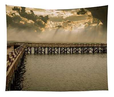Sunset On Pier Tapestry