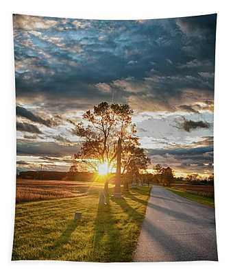 Sunset On The Field Tapestry