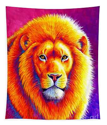 Sunset On The Savanna - African Lion Tapestry