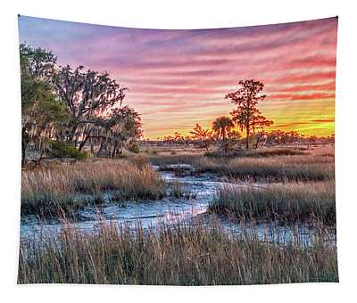 Sunset Over Chisolm Island Tapestry