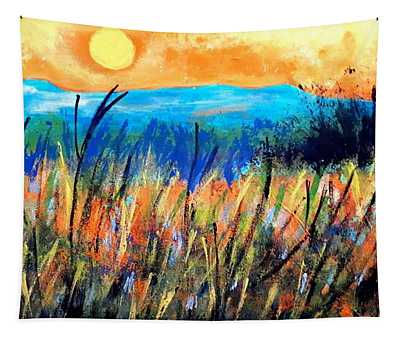 Sunset Over Fields Tapestry