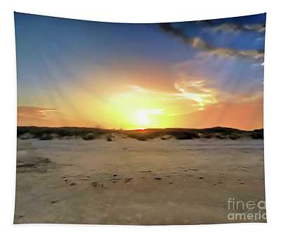 Sunset Over N Padre Island Beach Tapestry