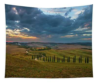 Tapestry featuring the photograph Sunset Over Toscany Fields by Jaroslaw Blaminsky