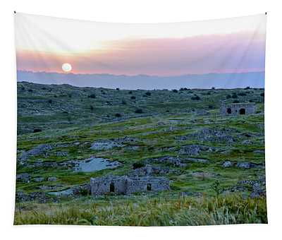 Sunset Over Um A-shekef, Israel Tapestry
