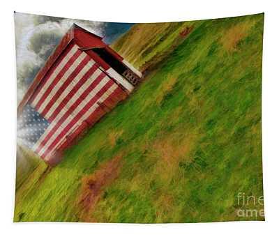Sunset Over Vasco American Flag Barn Brentwood Ca Tapestry