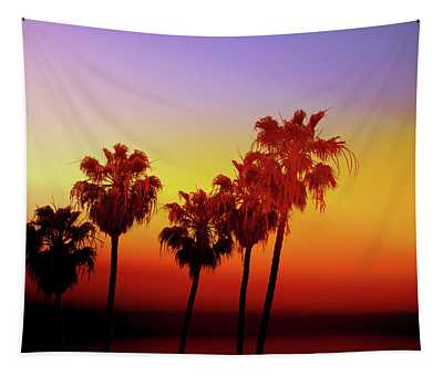 Sunset Palm Trees- Art By Linda Woods Tapestry