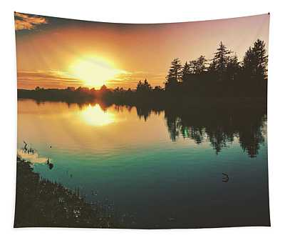 Sunset River Reflections  Tapestry
