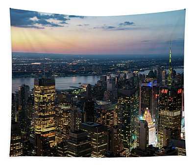 Sunset Skyline New York City Tapestry