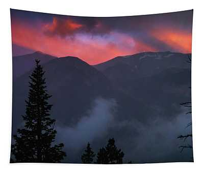 Tapestry featuring the photograph Sunset Storms Over The Rockies by John De Bord
