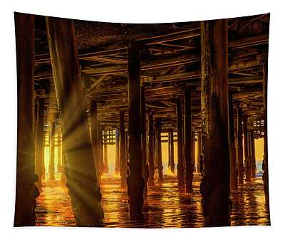 Sunset Under The Pier Tapestry