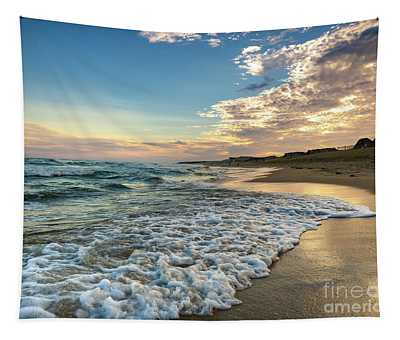 Sunset Waves In Montauk Tapestry