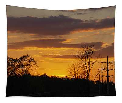 Sunset With Electricity Pylon Tapestry