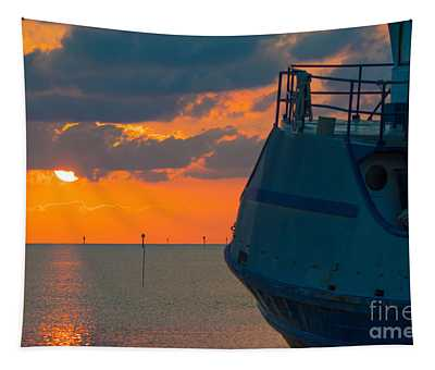Sunset With Ship Tapestry