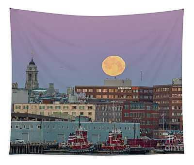 Super Snow Moon Over Portland Tapestry