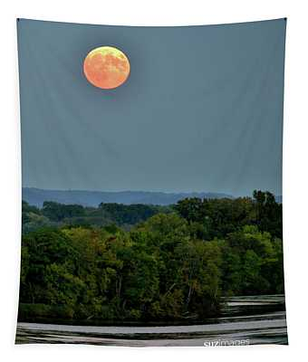 Supermoon On The Mississippi Tapestry