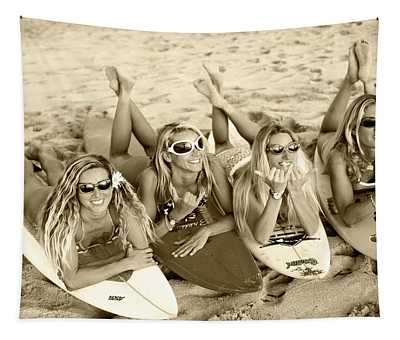 Surf Girls - Sepia Tapestry