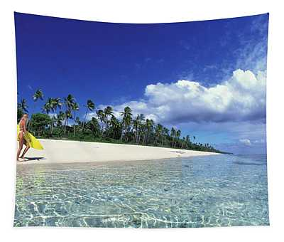 Surfer Girl In Tonga Tapestry