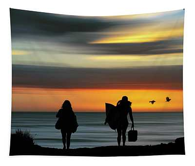 Surfer Girls Silhouette Tapestry