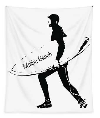 Surfer Malibu Beach Tapestry