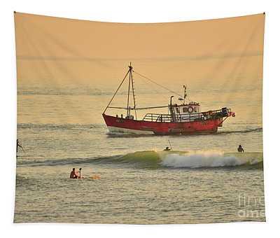 Surfing At Dusk Ij Aberystwyth Tapestry