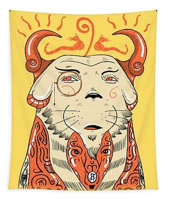 Tapestry featuring the drawing Surreal Cat by Sotuland Art