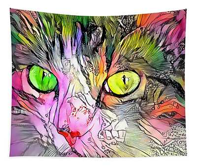 Surreal Cat Wild Eyes Tapestry