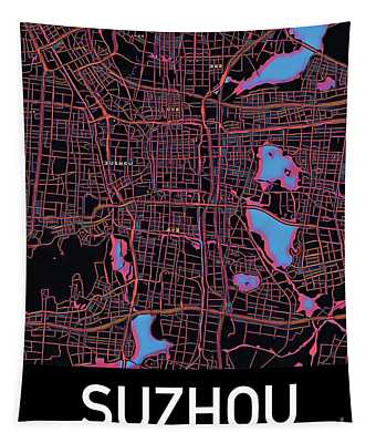 Suzhou City Map Tapestry