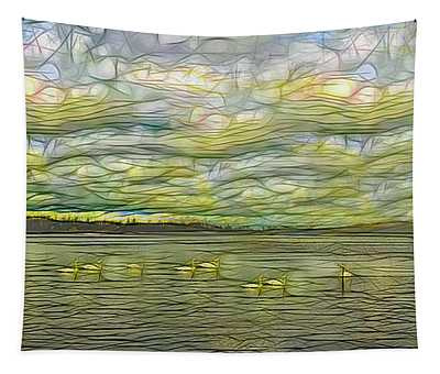 Swans On A Pond Abstract Tapestry