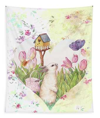 Sweet Heart Bunny And Butterfly Tapestry