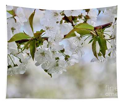Sweet White Cherry Blossoms Tapestry