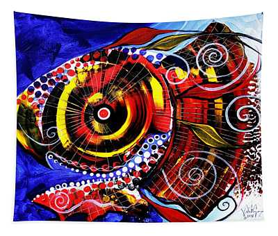 Swollen, Red Cavity Fish Tapestry