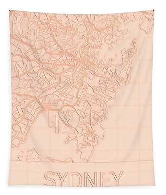 Sydney Blueprint City Map Tapestry