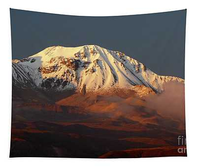 Taapaca Volcano At Golden Hour Chile Tapestry