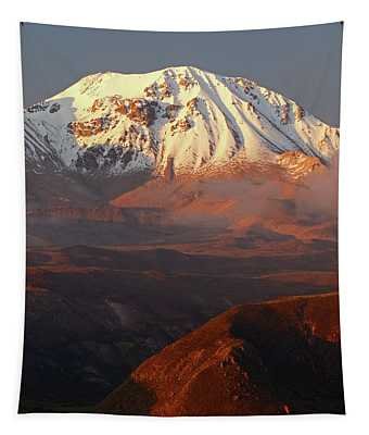 Taapaca Volcano At Sunset Chile Tapestry