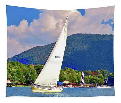 Tacking Lighthouse Sailor, Smith Mountain Lake Tapestry