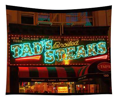 Tads Steaks Sign Tapestry