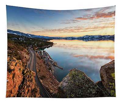 Tahoe Sunset Reflections Atop Cave Rock Tapestry