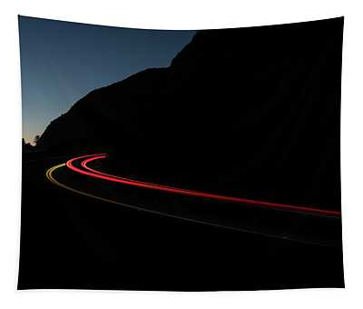 Tail Lights On A Mountain Road Tapestry