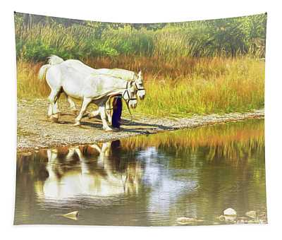 Leading The Horses To Water Tapestry