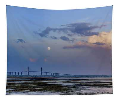 Tampa Bay Moon Rise At Sunset Tapestry