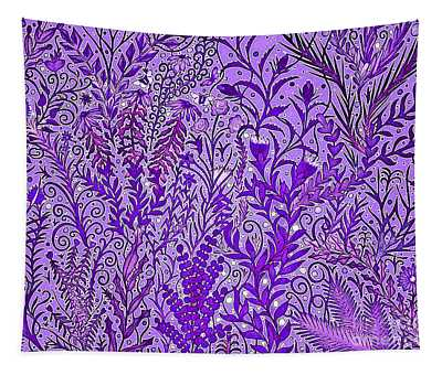 Tangled Garden In Deep Purple Tapestry