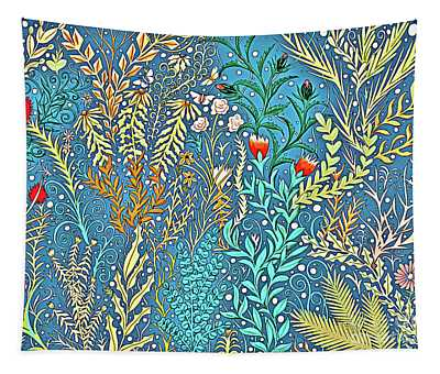 Tapestry And Home Decor Design In Cerulean Blue And Yellow With Vines, Flowers, And Butterflies Tapestry
