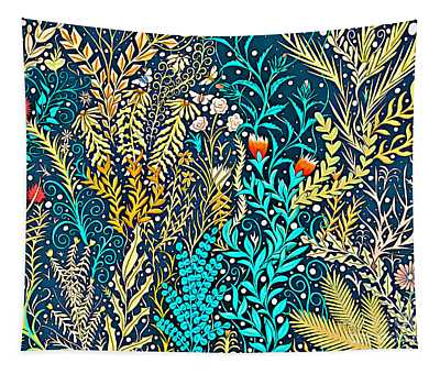 Tapestry And Home Decor Design In Dark Navy Blue With Yellow And Turquoise Foliage Tapestry