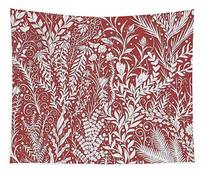 Tapestry Design In Brick Red And Light Gray With Leaves And Flowers Tapestry