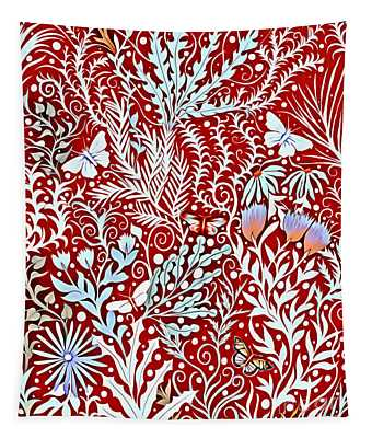 Tapestry Design In Brick Red With White Butterflies And Celadon Colored Foliage Tapestry