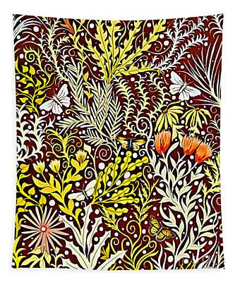 Tapestry Design With Autumn Colors And White Butterflies Tapestry